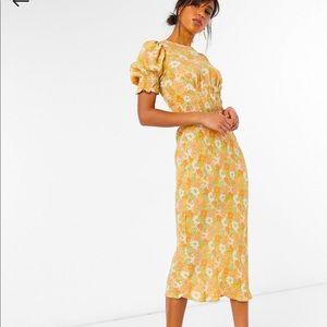 Cute Midi Shirred Tea Dress